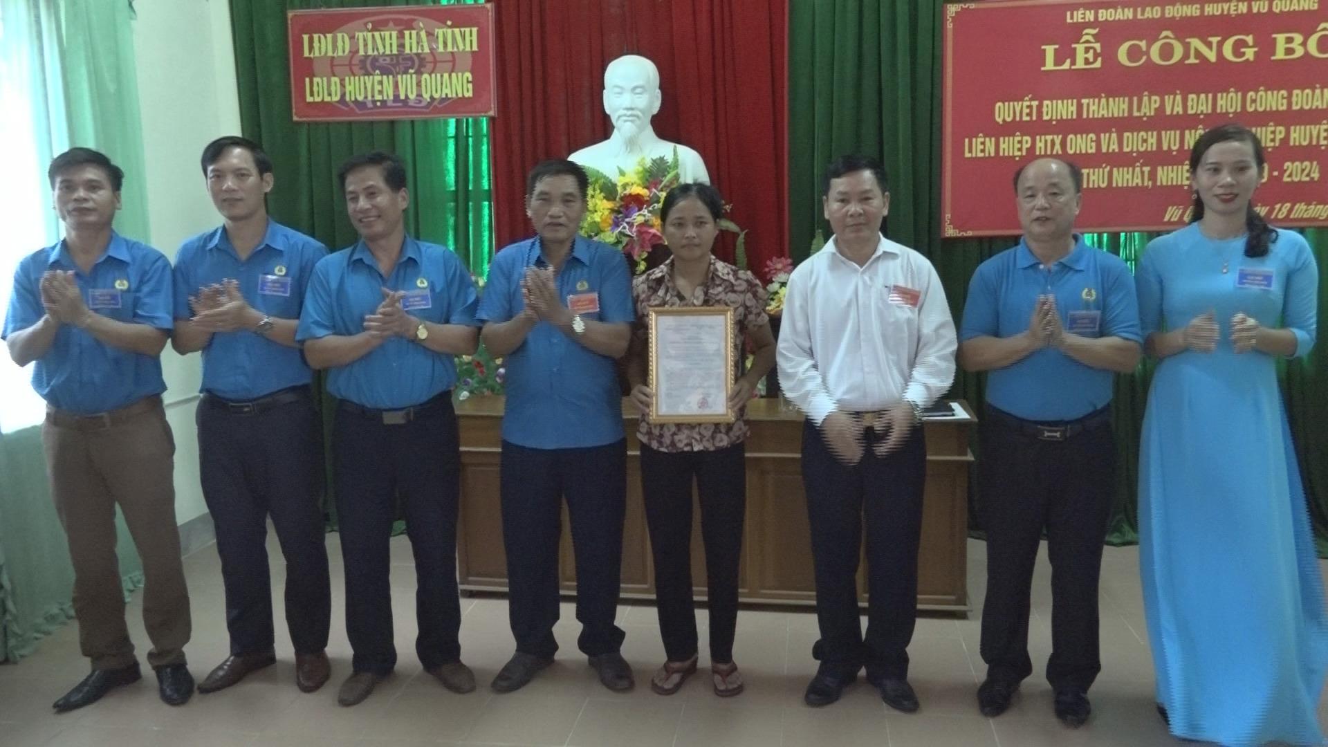 Vũ Quang: Thành lập CĐCS Liên hiệp Hợp tác xã Ong và dịch vụ nông nghiệp
