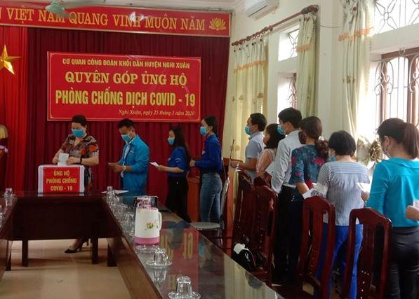 Nghi Xuân: Công đoàn Khối dân phát động ủng hộ phòng, chống dịch Covid-19