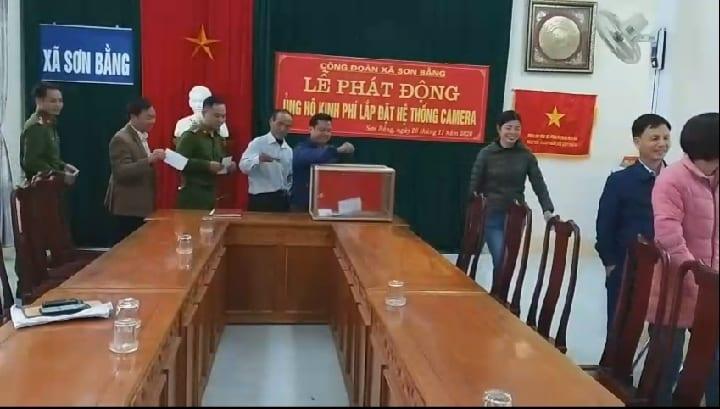 Công đoàn xã Sơn Bằng tổ chức lễ phát động ủng hộ kinh phí lắp đặt hệt thống camera